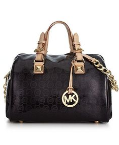 Michael Kors - Monogram Patent Satchel in Black - $348