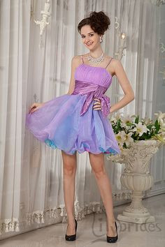 A-line Spaghetti Stretch Satin Organza Short/Mini Length Homecoming Dress