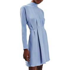 Women's Topshop Cowl Collar Dolman Sleeve Skater Dress ($90) ❤ liked on Polyvore featuring dresses, light blue, light blue long dress, collar dress, long dresses, day party dresses and holiday party dresses