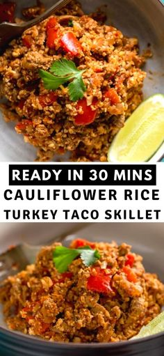 This Healthy Cauliflower Rice Turkey Taco Skillet is a quick and easy low carb dinner. It takes less than 30 minutes to prepare and is packed with veggies! Delicious Dinner Recipes, Good Healthy Recipes, Healthy Eats, Yummy Recipes, Yummy Food, Side Recipes, Veggie Recipes, Lunch Recipes, Dessert Recipes