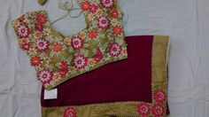 Here is the latest 60 grms georgette saree with pearl work design matched with designer ready made stitched b...