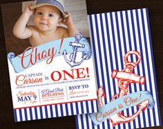 So Cute! Love this little sailor birthday invite! Nautical Birthday Party Invitation, Sailor, Captain, First Birthday, Anchor, Ship, Two Sided - Edit Listing - Etsy