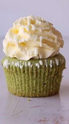 Matcha White Chocolate Cupcakes with Coconut Buttercream Frosting
