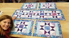 23 Ideas star quilting patterns free table runners for 2019 Patchwork Table Runner, Table Runner And Placemats, Quilted Table Runners, Quilt Placemats, Quilted Placemat Patterns, Star Quilt Patterns, Table Topper Patterns, Quilted Table Toppers, Table Runner Tutorial
