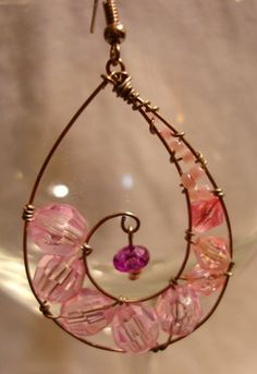 Pretty Pink Wire Wrapped Earrings - JEWELRY AND TRINKETS