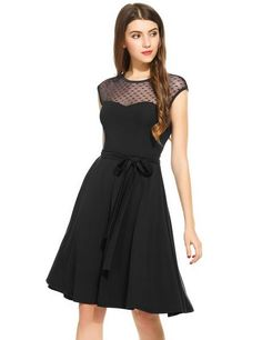 Women Sheer Mesh Sleeveless Keyhole Back Belted Cocktail Party Pleated Dress
