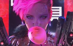 cyberpunk, Futuristic, Bubble gum, Pink hair Wallpaper