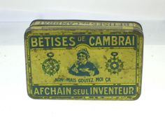 22328 Old Vintage Antique Aude Tin Box Boite Ancienne Biscuits Cambrai Betises | eBay