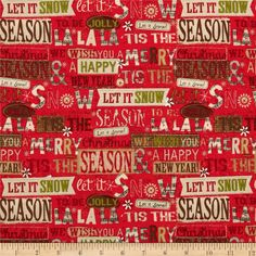 Holiday+Stitches+Holiday+Words+Red from @fabricdotcom  Designed+by+me-O-my+for+Spectrix,+this+cotton+print+fabric+is+perfect+for+quilting,+apparel+and+home+decor+accents.+Colors+include+brown,+olive,+cream+and+red.