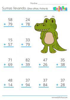 ▷ Sumas llevando | Fichas Gratis de sumas para Niños | Primaria Math Practice Worksheets, First Grade Math Worksheets, Preschool Learning Activities, Teaching Math, English Worksheets For Kids, Math Addition, Math Practices, Math For Kids, Facebook