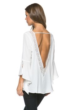 Open Back Bell Sleeve Top (more colors) – Colors of Aurora