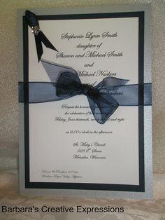 Custom Wedding Invitation Navy Silver with ribbons & gem