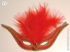 The swallow eyemask is a beautiful red eyemask with an embroidered gold trim and soft red feathers. Elegant Masquerade Mask, Eye Masks, Red Feather, Swallow, Feathers, Christmas Ornaments, Gold, Beautiful, Swallows