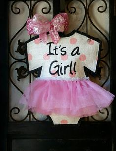 It's a girl! Baby announcement door hanger, hand painted burlap, Hospital or Baby shower hanger, with pink polka dots and tutu