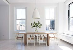- Union Square Loft - Dining Room - scandinavian - Dining Room - Other Metro - Resolution: 4 Architecture Table Design, Dining Room Design, Dining Room Table, Dining Area, Oak Table, Dining Rooms, Wood Tables, All White Room, White Rooms