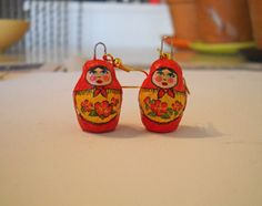 by Ilsa Heinicke    Babushka Paper Mache Earrings by HoiPolloiHandmade on Etsy, $20.00