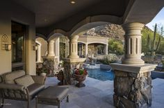 This Magnificent Tuscan-Inspired Home Designed by Lee Hutchison is located on a cul-de-sac lot on the Western slope of Pinnacle Peak Elegant Home Decor, Elegant Homes, Outdoor Spaces, Outdoor Living, Tuscan Decorating, Winter House, Mid Century House, Inspired Homes, House Rooms