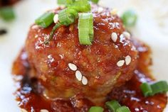 Asian Turkey Meatballs with Gochujang Glaze