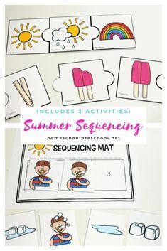 Free Printable Summer Sequencing Cards for Preschoolers Preschool Arts And Crafts, Preschool Education, Preschool Printables, Preschool Activities, Art Education, Preschool Worksheets, Kids Crafts, Free Printables, Bubble Activities