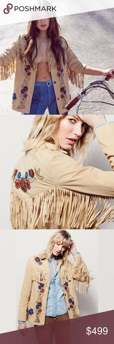 """Free People Sydney Fringe Trim Beaded Suede Jacket Free People Sydney Fringe Trim Beaded Suede Jacket MSRP $795  Colorfully beaded floral embroidery and long swingy fringe define the home-on-the-prairie style of an easy-fitting jacket cut from buttery-soft, buttery yellow suede. Size Medium. Bend new without tags.   * 29"""" length; 5 1/2"""" fringe (size Medium). * Front button closure. * Notch collar. * Long sleeves. * Front slant pockets. * Lined. * 100% Goat Suede. Free People Jackets & Coats"""