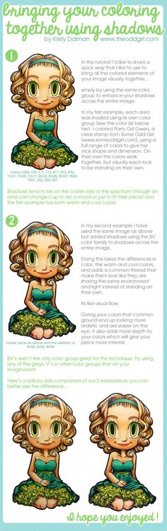 Bring Coloring Together using Shadow Colors, Copic Tutorial by Kristy Dalman