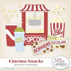 Cinema Snacks Templates by Kim Cameron, movie, commercial use, digital, scrap, clipart,
