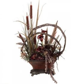 Brown and Burgundy Silk Flower Arrangement with Grass, Feathers, and Calla Lily ARWF2998
