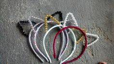 Ribbon and pearl cat ear headband, festival wear, costume ears, Taylor Swift, cosplay, rave wear, gypsy, boho, bachelorette party, wedding