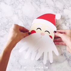 a simple santa handprint craft for kids Kids Crafts Santa Handprint, Christmas Handprint Crafts, Santa Crafts, Holiday Crafts, Kindergarten Crafts, Preschool Crafts, Christmas Activities For Kids, Toddler Crafts, Paper Crafts