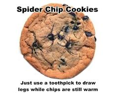 """These """"Spider"""" Chocolate Chip Cookies Will Surround Your Snack Table With Shrieks of Horror. Halloween Party Treat! Just use a toothpick to draw legs in the chocolate while the chocolate chips are still warm! Easy!"""