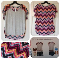 Pixley Indianan Chevron Print Mixed Material Tee-- love anything with mixed materials. Love the solid front with pattern back