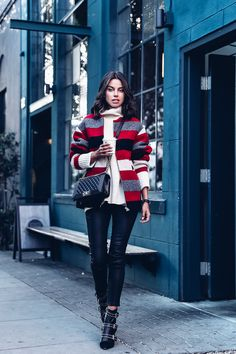 ISABEL MARANT ETOILE Fimo blanket coat, SEA Cashmere sweater, RAG & BONE/JEAN Skinny LB pants, ISABEL MARANT Lysett eyelet boots, CHANEL Boy bag, LARSSON & JENNINGS Classic black & gold watch