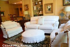 Slipcovers made from  French Linen by Anita ~ Cedar Hill Ranch