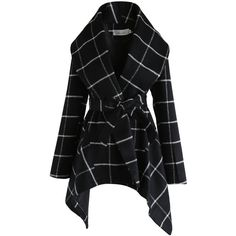Chicwish Prairie Grid Rabato Coat in Black (£63) ❤ liked on Polyvore featuring outerwear, coats, waterfall coats, shawl collar coat and leather-sleeve coats