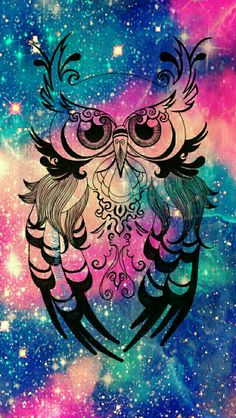Vintage owl galaxy wallpaper I created for the app CocoPPa!