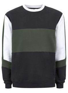 Khaki Panelled Sweatshirt Mens Sweatshirts, Men's Hoodies, Boys Shirts, Suspenders, Menswear, Trending Outfits, Long Sleeve, Full Sleeves, Model