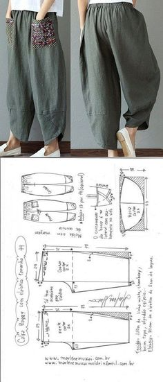 Baggy pants with elastic waistband DIY - shaping, cutting and stitching - Marlene Mukai . - Baggy trousers with elastic waistband DIY – shaping, cutting and stitching – Marlene Mukai – - Diy Clothing, Clothing Patterns, Dress Patterns, Sewing Pants, Sewing Clothes, Fashion Sewing, Diy Fashion, Dress Fashion, Fashion Outfits