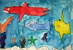 Artsonia Art Museum :: large fish primary colors, small fish secondary.  thanks shar!!