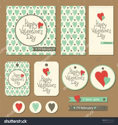 Set Of Cards, Gift Tags And Labels With Hearts For Valentine'S Day. Vector Illustration. - 367951670 : Shutterstock