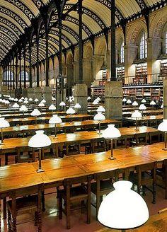 Reading room of the Sainte-Geneviève Library, designed by Henri Labrouste, 10 Place du Panthéon, Paris V