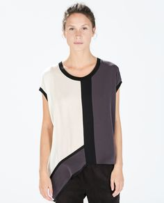 Image 1 of COLOR BLOCK ASYMMETRICAL T-SHIRT from Zara