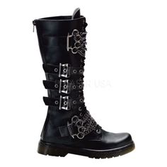20 Eyelet Knee Combat Boot With Brass Knuckles-Chain. $133.95