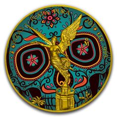 2018 1 Oz Proof Dia De Los Muertos  Mexico Skull Domed Silver 24k Gold Gilded