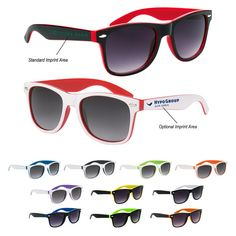91256623f77e Two-Tone Malibu Sunglasses - Promotional Sunglasses personalized with your  custom imprint or logo.