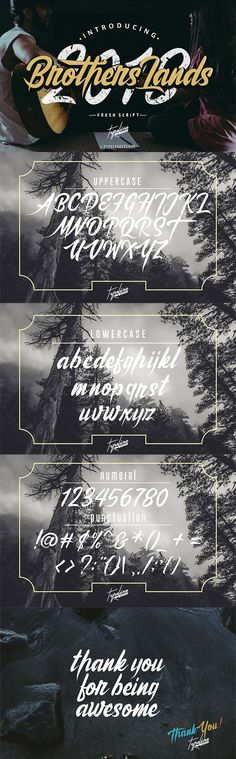 Free Brothers Land Script Font is a new font with a personal charm. It\'s a #solid #brush style #font, brother land is perfect for branding projects, photography, watermark, quotes, blog header, poster, wedding, branding, logo, fashion, apparel, letter, invitation, stationery, etc. via Creativetacos
