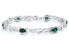 Lab Created Oval Emerald Tennis Bracelet in Sterling Silver - 7 Inches ** Click image for more details.