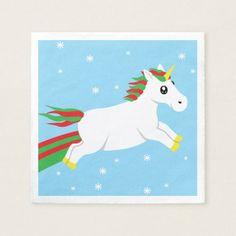 Christmas Unicorn Holiday Napkins