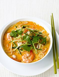 Prawn laksa This quick meal for two hails from Malaysia and takes just 20 minutes to prepare. Warming prawn noodle broth with spicy Laksa paste is topped with cucumber and coriander. Fish Recipes, Seafood Recipes, Asian Recipes, Ethnic Recipes, Prawn Noodle Recipes, Cooked Prawn Recipes, Chinese Prawn Recipes, King Prawn Recipes, Recipies
