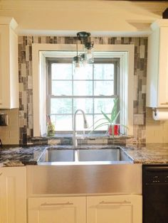 Cream Color Cabinet Vignette Tile Backsplash To Ceiling Around