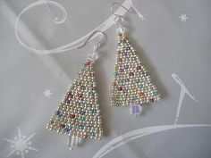 Beaded Earrings Silver Christmas Tree Seed Bead Earrings Holiday Jewelry by WorkofHeart on Etsy